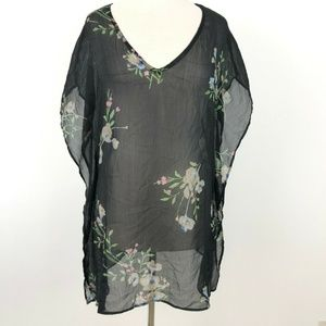 O'Neill Swimsuit Cover Up Black Floral Beach